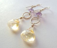 Citrine and Amethyst Sterling Silver Earrings – Beth Lerner Jewelry http://bethlernerjewelry.com/collections/earrings/products/citrine-and-amethyst-sterling-silver-earrings