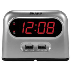Wake up on time with help from this Sharp digital alarm clock which comes with 2 USB charging ports for refueling your phone or tablet. this clock is AC powered but has a battery backup to help keep it running in the event of a power outage. Tv Sony, Atomic Wall Clock, Clock Display, Wake Up Call, Electric Power, Red Led, Alarm Set, Digital Alarm Clock, Alarm Clocks