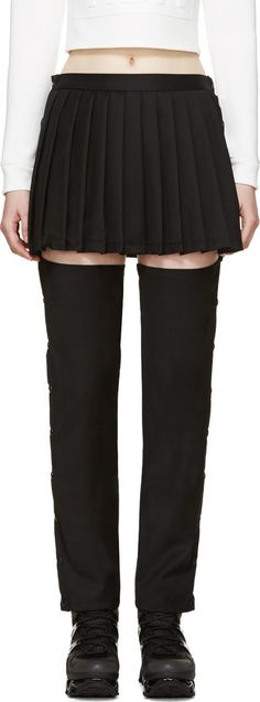 Hood by Air Black Suiting Pleated Skirt