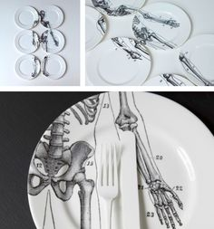 "interesting and cool. ""Bone China"" skeleton plate set."