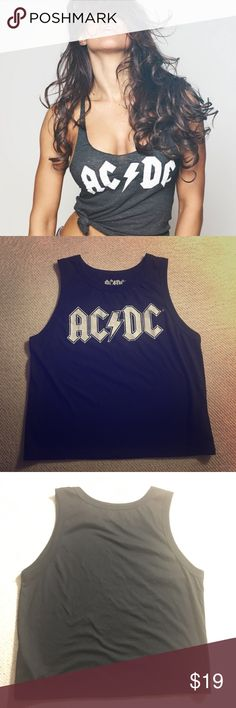 AC/DC tank top Women's Size medium. Black tank with AC/DC graphic. First pic is style inspo. Actual is the others ACDC Tops Tank Tops