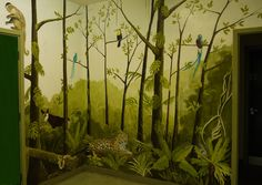 Jungle Mural- I love the trees and foliage in this one.  I could go with or without the animals