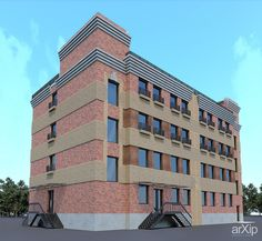 Офисное здание: архитектура, зd визуализация, офис, администрация, 4 эт | 12м, модернизм, 500 - 1000 м2, фасад - кирпич, фасад - дерево, здание, строение, архитектура #architecture #3dvisualization #office #administration #4fl_12m #modernism #500_1000m2 #facade_brick #facade_wood #highrisebuilding #structure #architecture arXip.com