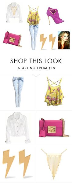 """""""80s Fashion"""" by holly32196 on Polyvore featuring Casadei, Pilot, WithChic, American Eagle Outfitters, Gucci, IaM by Ileana Makri, Simone I. Smith, gold, hotpink and acidwashjeans"""