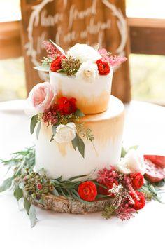 Photography: Tamara Gruner Photography - http://www.stylemepretty.com/portfolio/tamara-gruner-photography Cake: Indulge Bakery - http://www.stylemepretty.com/portfolio/indulge-bakery   Read More on SMP: http://www.stylemepretty.com/2016/01/14/intimate-wild-basin-lodge-wedding/
