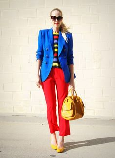 Loving all (the color blocking mostly) but not to the style of the pants.really in love w/the Jacket! Fashion Colours, Colorful Fashion, Fashion Over, Spring Fashion, Fashion Fashion, Urban Outfitters Sunglasses, Color Blocking Outfits, Geometric Fashion, Bright Spring
