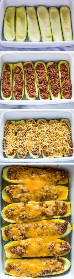 STUFFED ZUCCHINI BOATS. 6-8 zucchini,  450g ground chicken, 1tbsp oil, 1/2 cup onion, 2 garlic, 1 cup marinara sauce, 1tbsp Italian seasoning, 1/4tsp salt, 1 cup cheddar/mozzarella. 190°C, 15-20 minutes.