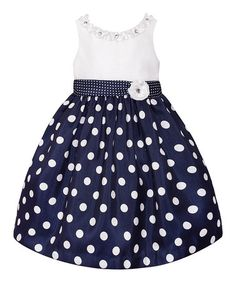 Look at this #zulilyfind! Navy  White Polka Dot Dress - Toddler  Girls #zulilyfinds