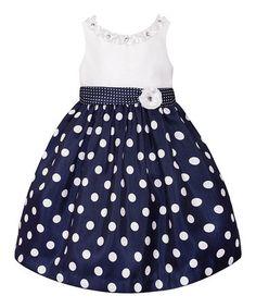 Look at this #zulilyfind! Navy  White Polka Dot Dress - Toddler  Girls #zulilyfinds