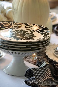 Find more damask dishes for a  Black and white table.