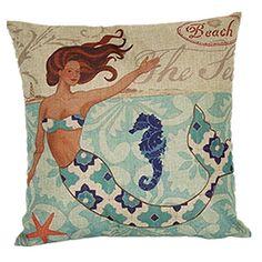 "Beach Sea Horse, Mermaid Pattern Pillow Case Square Synthetic Flax Zippered Printed Pillowcase Throw Cushion Cover, 18 ""X18 """