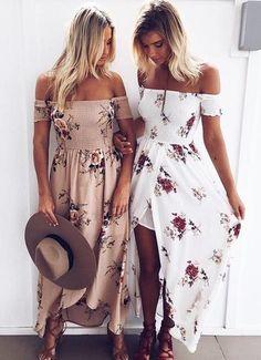 Off Shoulder Playful Maxi Dress White Maxi Dresses, Cute Dresses, Beautiful Dresses, Beach Dresses, Dress Beach, Floral Dresses, Boho Dress, Casual Dresses, Pencil Dresses
