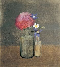 Summer Bouquet (Pompom Poppy, Clematis, and Strawberry Flower)by Morris Graves, 1977, watercolor and tempera on paper, 12 x 11. Collection Esther and Charles Campbell.   [+] link   Rhododendron link