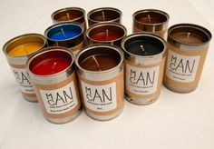 Candles for men (with manly scents like sawdust), created by a middle schooler and made in recycled soup cans, with each purchase resulting in a donation to a food pantry.  So clever.