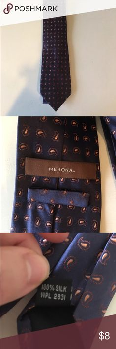 Merona Tie Navy tie with paisley pattern. Previously worn but in excellent condition! Open to reasonable offers though feature! Merona Accessories Ties