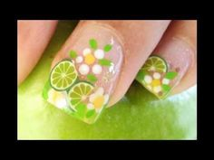 LIME NAIL DESIGN Diseño de Limon para uñas con fimo cane slices - YouTube
