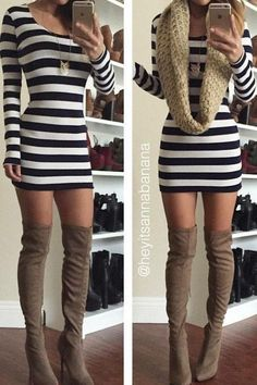 Striped long sleeve dress with thigh high boots