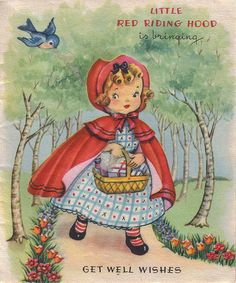 All information about Little Red Riding Hood Illustration Vintage. Pictures of Little Red Riding Hood Illustration Vintage and many more. Vintage Greeting Cards, Vintage Postcards, Clipart Vintage, Vintage Pictures, Vintage Images, Vintage Children's Books, Vintage Paper, Get Well Cards, Children's Book Illustration