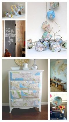 Globe and map accents for an adventure/explorer themed nursery