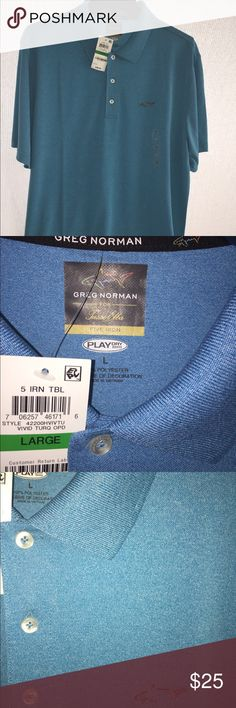 Greg Norman Men's Golf Shirt Size L, vivid turquoise color, new, with tags.  Close up photo shows actual color the best. Greg Norman Shirts