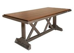 Sawbridge Studios - Tiger Maple and Metalized Wood Trestle Table