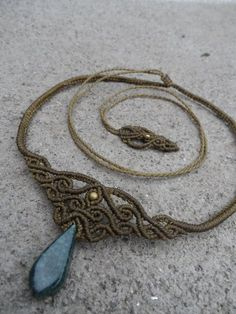 Jadeite Macrame necklace choker & tiara stone size by LaQuetzal More