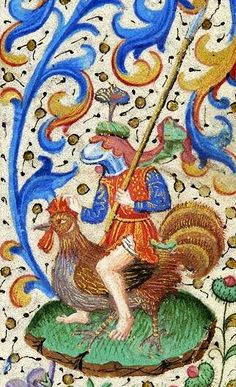 The Best ride in town - Knight astride rooster @MorganLibrary, MS 282, c. 1460