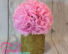 Items similar to Glitter Gold & Pink Centerpiece, Pink Faux Silk Rose Pomander - Additional Colors Available on Etsy Small Centerpieces, Bridal Shower Centerpieces, Royal Baby Showers, Wood Vase, Silk Roses, Birthday Party Decorations, Birthday Ideas, Gold Glitter, Handmade Gifts