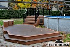 Patio avec piscine hors-terre par Patio Design inc. Pool Deck Plans, Patio Plans, Backyard Plan, Backyard Retreat, Backyard Patio, Outdoor Pool, Outdoor Ideas, Backyard Ideas, Outdoor Spaces