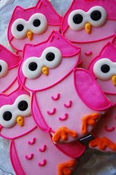 Pink owl cookies, let's make them blue! Cookies Cupcake, Galletas Cookies, Cute Cookies, Sugar Cookies, Pink Cookies, Yummy Cookies, Orange Cookies, Birthday Cookies, Galletas Decoradas Royal Icing