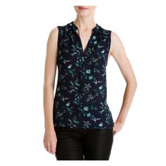 PRINT V-NECK TANK in Navy - OUT OF STOCK