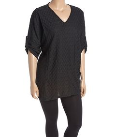 Love this Black Tab-Sleeve V-Neck Tunic - Plus by Dalin on #zulily! #zulilyfinds