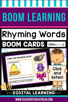 THIS IS AN INTERACTIVE DIGITAL RESOURCE. Download the preview to play a shortened version of the Boom Deck – this will help you decide if the resource is suitable for your students. ABOUT THIS BOOM DECK: This set of 50 Boom Cards will help students practice rhyming words. When clicked, the included audio will tell students each word. They must identify its rhyming partner, then drag the correct picture into the blank box.