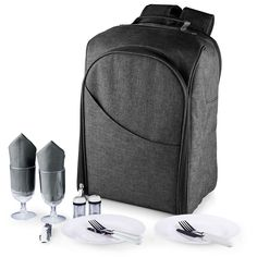 Picnic Time Colorado 15-pc. Service for Two Insulated Picnic Backpack Set, Grey