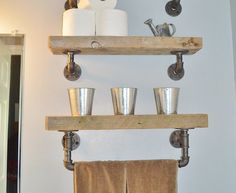 Reclaimed Barn Wood Bathroom Shelves by CaseConcepts2000 on Etsy https://www.etsy.com/listing/233175498/reclaimed-barn-wood-bathroom-shelves
