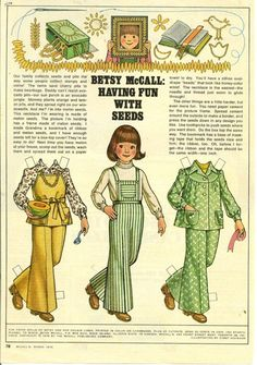 Vintage March 1976 Magazine Paper Doll Betsy McCall Having Fun With Seeds