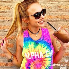 Iced coffee and tie-dye   Alpha Chi Omega   Made by University Tees   www.universitytees.com