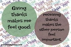 Giving thanks makes me feel good; receiving thanks makes the other person feel important. (Cecil Murphey)