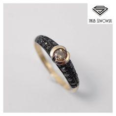 Cognac and black diamonds Ring by Jakub Śliwowski. www.sliwowski.com.pl