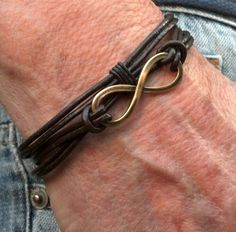 Bracelet infinity | single multi wrap brown | men's accessories