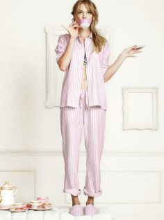 The button-up top and drawstring pants are a comfy lounge-loving favorite, with a slightly oversized fit. l The Dreamer Flannel Pajama Flannel Pajamas, Silk Pajamas, Victoria Secret Pajamas, Pink And White Stripes, Pink Grey, Girl Fashion, Womens Fashion, Drawstring Pants, Pajamas Women