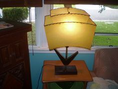 Vintage Mid Century Atomic table Lamp with Green by Spiffytyrant, $139.00