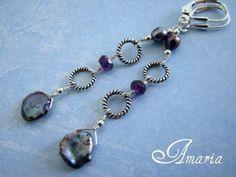 Keshi pearl and amethyst earrings by Amaria #boebot #handmadebot #etsybot