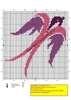 Hirondelle rose violette (pink and violet swallow), designed by Corinne… Cross Stitch Bookmarks, Cross Stitch Bird, Cute Cross Stitch, Cross Stitch Animals, Cross Stitch Flowers, Cross Stitch Charts, Cross Stitching, Cross Stitch Embroidery, Hand Embroidery