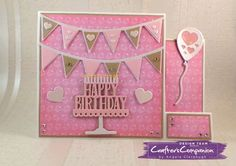 Stepper Card made with Sara Signature Birthday Party Collection.  Designed by Angela Clerehugh #crafterscompanion
