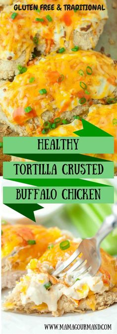An amazing and healthy chicken recipe! The chicken is coated in crunchy crushed tortilla chips, baked with creamy buffalo topping, and smothered with cheddar cheese. It will easily become a family favorite. www.mamagourmand.com