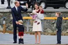 The Duke and Duchess of Cambridge, Prince George and Princess Charlotte attend a ceremony to mark their departure at Victoria Harbour