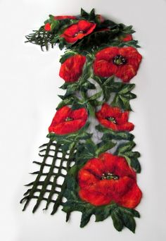 Nuno Felted scarf   Poppy red green flower. $119.00, via Etsy.This nuno felted scarf was made of soft merino wool through a Nuno felting process.. This felted scarf is thin and you can tie it in different ways.  Scarf was decorated with sunflower flowers, silk fibers  The shawl will decorate you in the summer and in the winter.