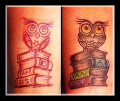 My latest obsession! Owls are 👍...notice the Harry Potter symbol for the deathly hallows 😏 and my degrees earned...so far 😁...Still studying always.... Harry Potter Symbols, Book Tattoo, Deathly Hallows, Owl Tattoos, Tatoos, Beautiful Tattoos, Studying, Piercing, Tatting