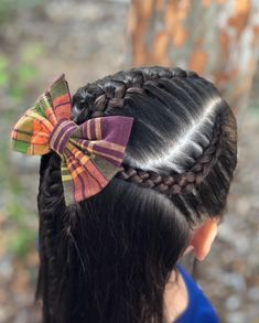French braid in the center with two Dutch lace braids on sides 🎀🌸💜 Pretty Braided Hairstyles, Prom Hairstyles For Short Hair, Baby Girl Hairstyles, Short Hair Updo, Braid Hairstyles, Updo Hairstyle, Braided Updo, Hairstyle Ideas, Hair Ideas